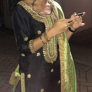 Dresses & Skirts - Black and parrot green Punjabi suit